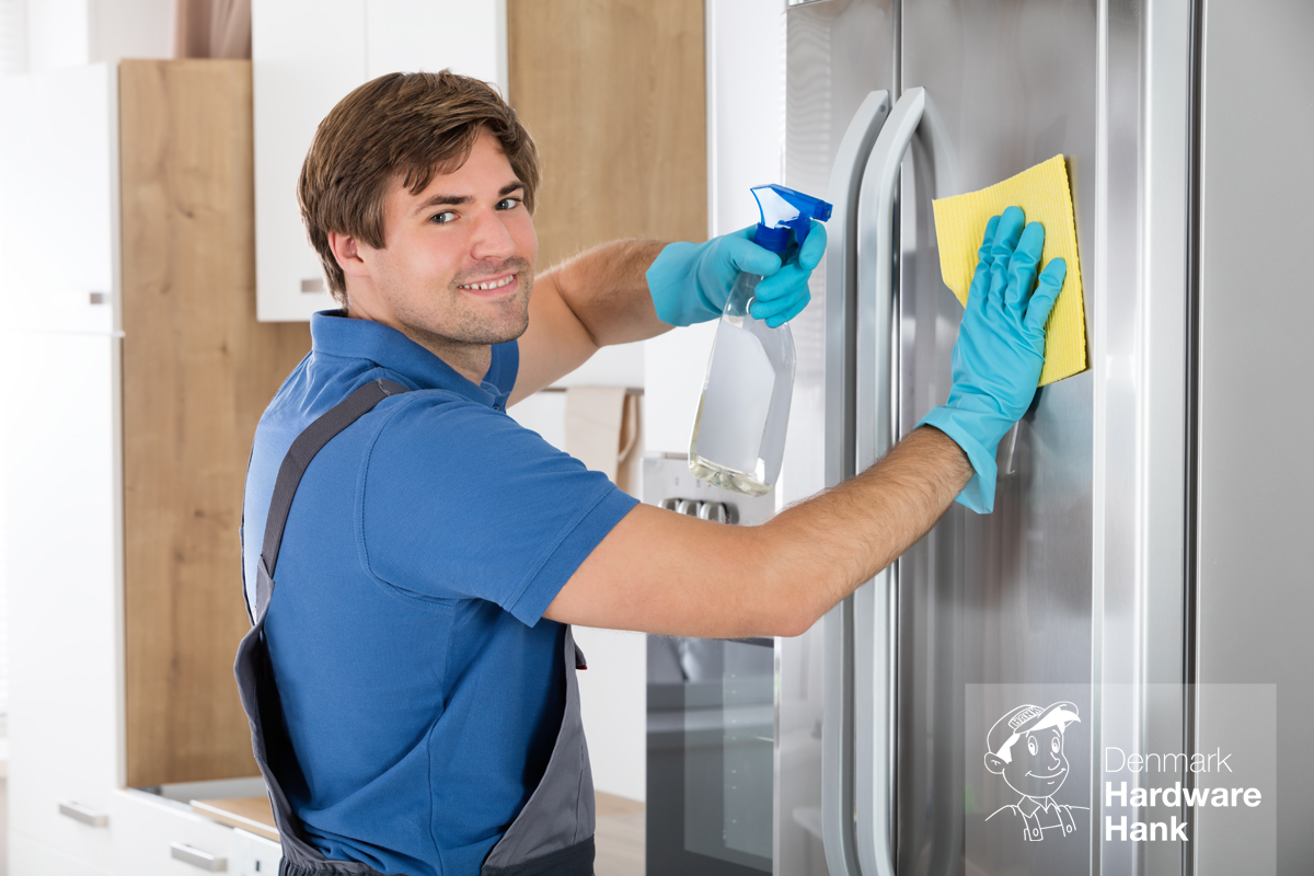 Denmark Hardware Hank Man Cleaning Stainless Refrigerator