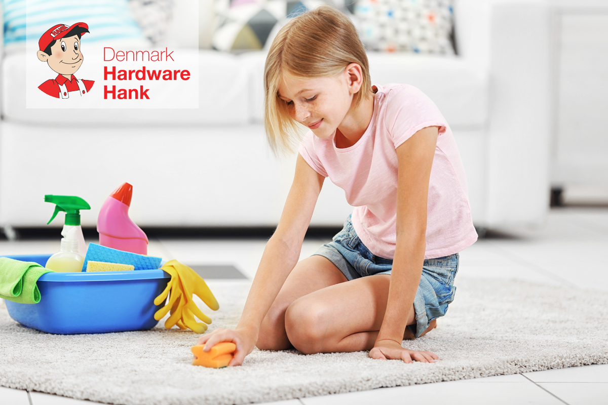 Denmark Hardware Hank Little girl cleaning floor carpet
