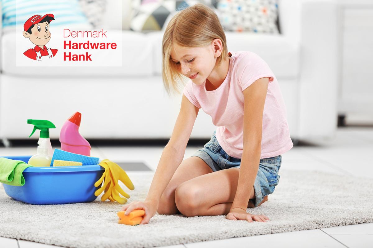 Denmark Hardware Hank Little girl cleaning floor carpet